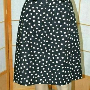 Michael Kors Black Cotton Polka Dot A-Line Skirt